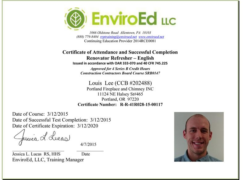 Licenses Affiliations Portland Fireplace And Chimney