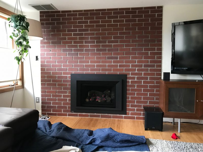 rebuild fireplace. and here we are  with the interior completed SW Portland Chimney Rebuild Fireplace Remodel